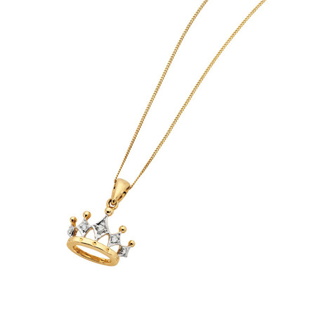 Pendant with Diamonds in 10ct Yellow & White Gold