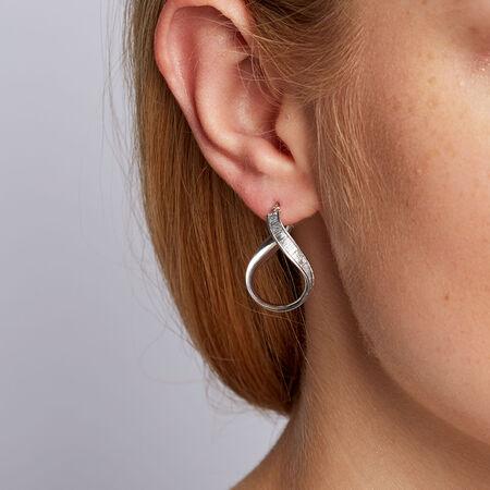 Twist Glitter Hoop Earrings in Sterling Silver