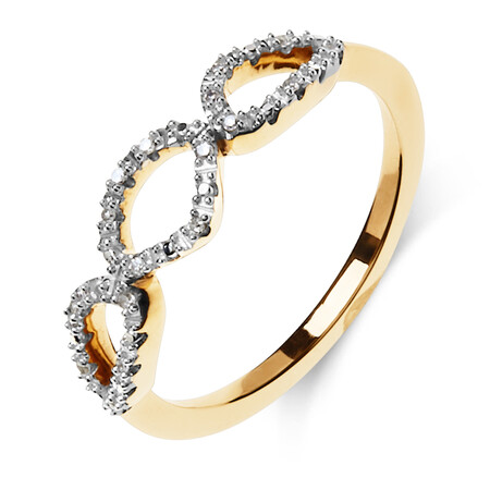 Organic Shape Ring with Diamond in 10ct Yellow Gold