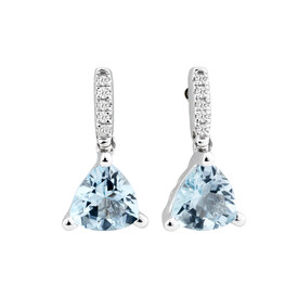 Drop Earrings with Aquamarine & Diamonds in 10ct White Gold