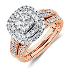 Bridal Set with 1 Carat TW of Diamonds in 14ct Rose & White Gold