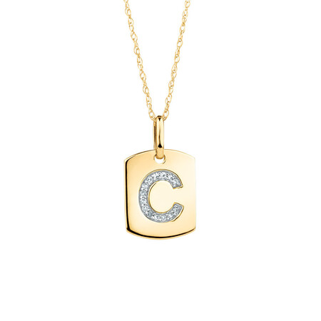 """C"" Initial Rectangular Pendant With Diamonds In 10ct Yellow Gold"