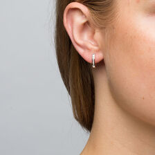 Hoop Earrings with 0.15 Carat TW of Diamonds in 10ct White Gold