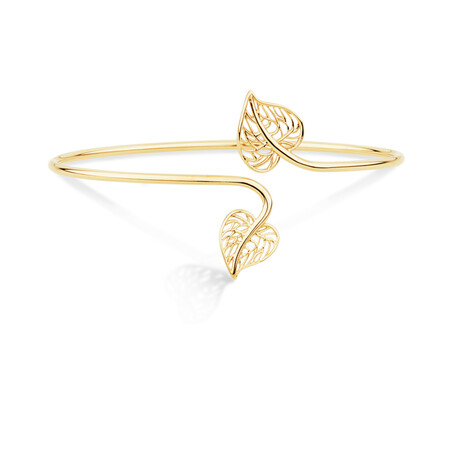 Heart Leaf Cuff Bangle in 10ct Yellow Gold