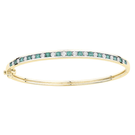 Bangle with Created Emerald & Diamonds in 10ct Yellow Gold