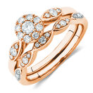 Bridal Set With 0.40 Carat TW of Diamonds In 10ct Rose Gold