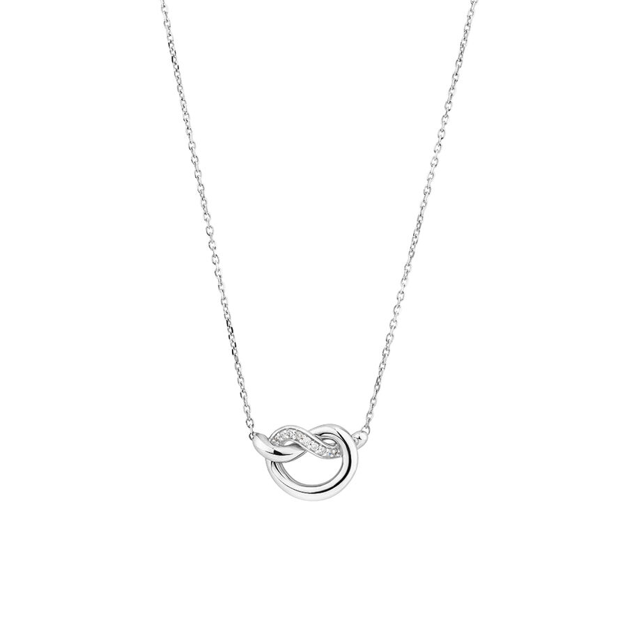 Small Knots Necklace with Diamonds in Sterling Silver