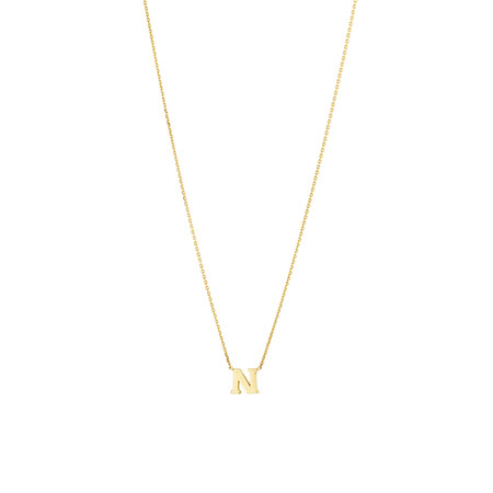 """""""N"""" Initial Necklace in 10ct Yellow Gold"""