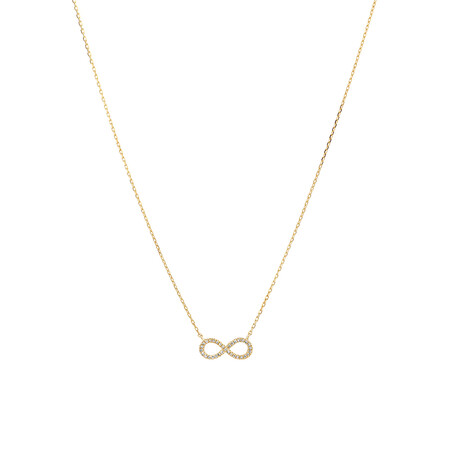 Infinity Necklace with Diamonds in 10ct Yellow Gold