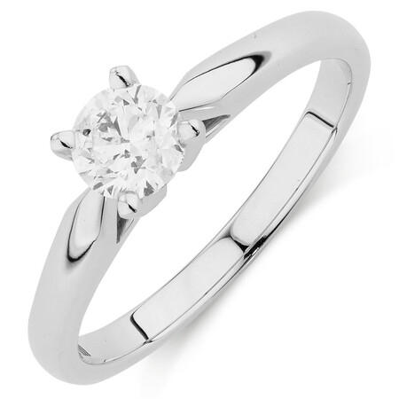 Evermore Certified Solitaire Engagement Ring with a 0.50 Carat TW Diamond in 14ct White Gold