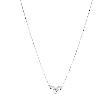 Bow Necklace with Diamonds in 10ct White Gold
