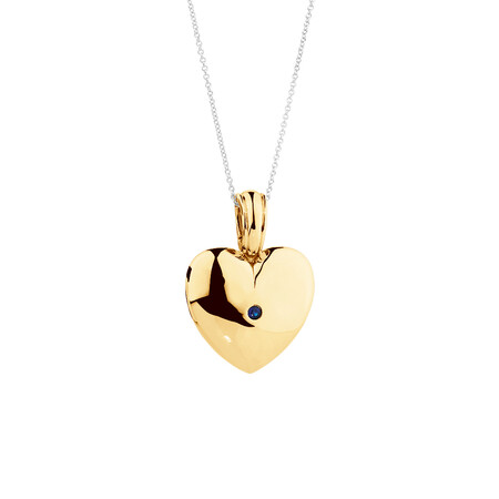 Heart Enhancer Pendant with Natural Sapphire in 10kt Yellow Gold