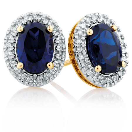 Stud Earrings with Created Sapphire & Diamonds in 10ct Yellow Gold