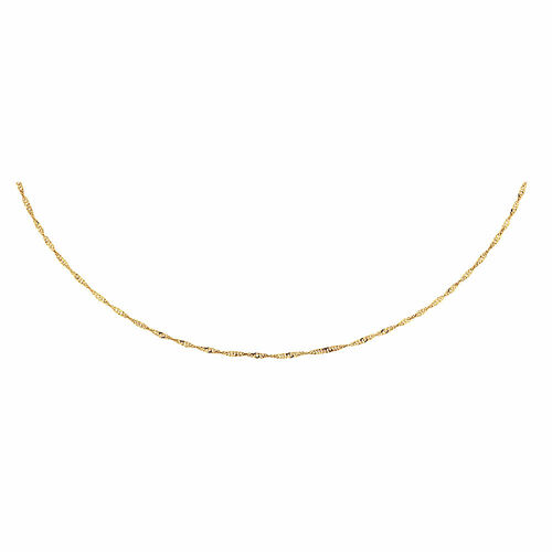 """40cm (16"""") Hollow Singapore Chain in 10ct Yellow Gold"""
