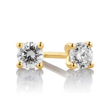 Stud Earrings with 0.25 Carat TW of Diamonds in 10ct Yellow Gold