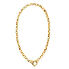 Diamond Set Solid Belcher Chain in 10ct Yellow Gold