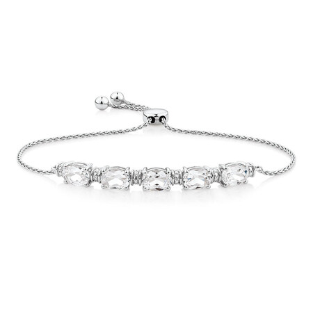 Adjustable Bracelet with Created White Sapphire in Sterling Silver