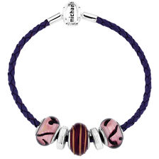 Purple Leather, Glass & Sterling Silver Charm Bracelet