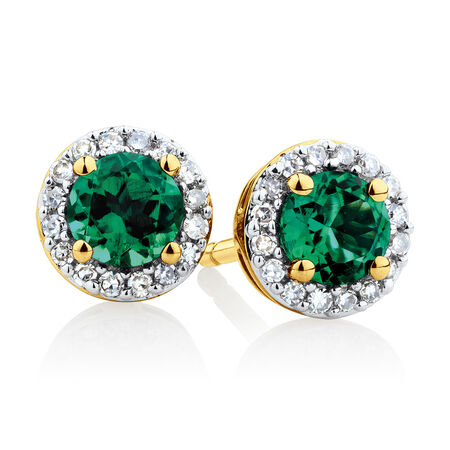 Halo Stud Earrings with Created Emerald & Diamonds in 10ct Yellow Gold