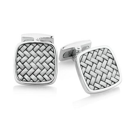 Square Cross Weave Cufflinks in Sterling Silver