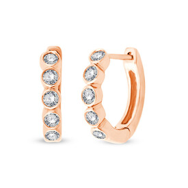 Mini Hoops with 0.17 Carat TW of Diamonds in 10ct Rose Gold