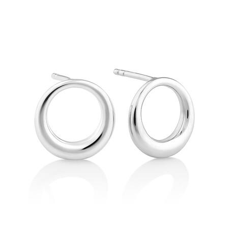 Sculpture Circle Stud Earrings In Sterling Silver