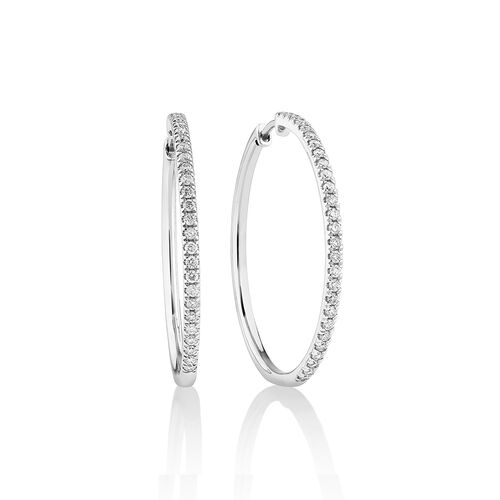 Pave Hoop Earrings with 0.60 Carat TW Diamonds in 10ct White Gold