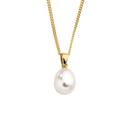 Pendant with a Cultured Freshwater Pearl in 10ct Yellow Gold