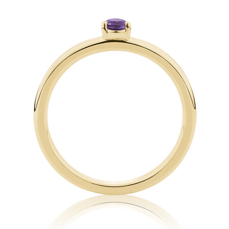 Stacker Ring with Amethyst in 10ct Yellow Gold