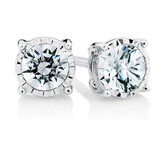 Stud Earrings with 0.33 Carat TW of Diamonds in Sterling Silver