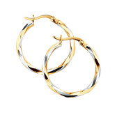 Twist Hoop Earrings in 10ct White & Yellow Gold