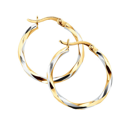 Twist Hoop Earrings in 10ct White & Yellow Gold