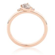 Stacker Ring wtih Diamonds & Morganite in 10ct Rose Gold
