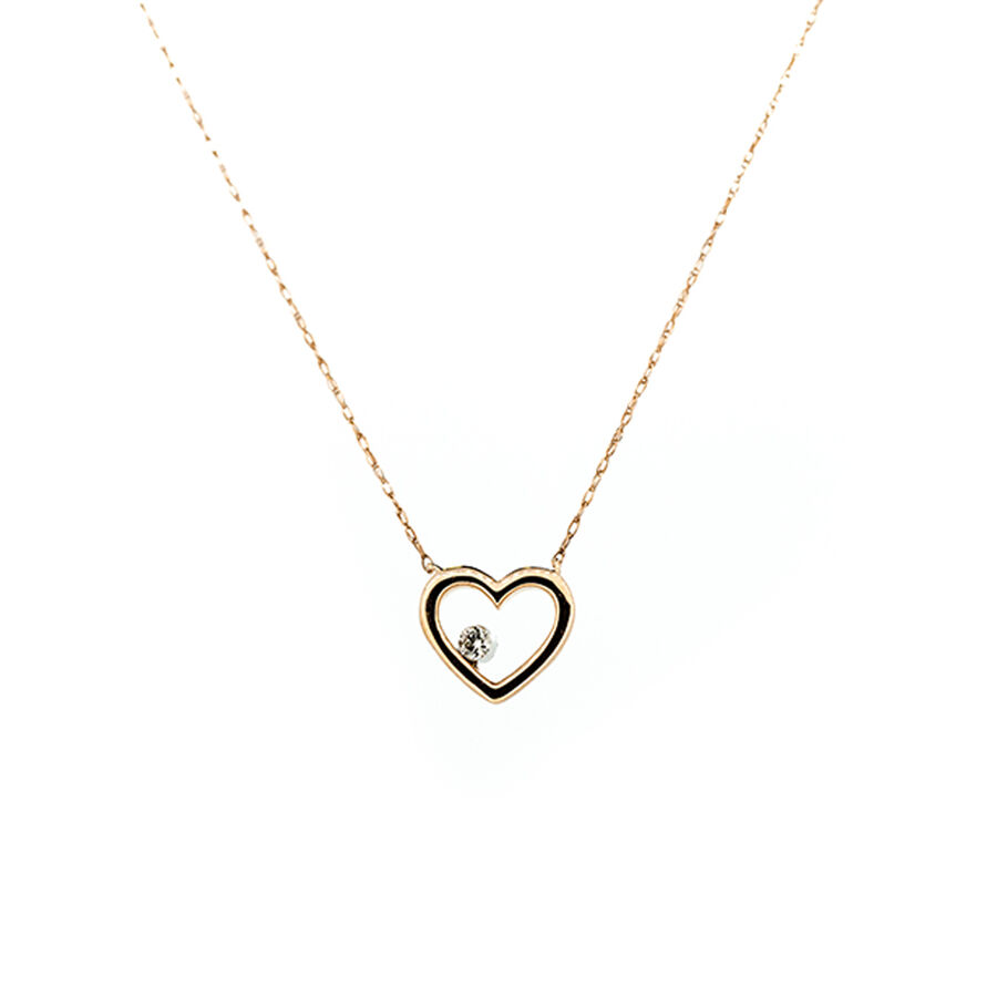 Heart Pendant with Diamonds in 10ct Rose Gold