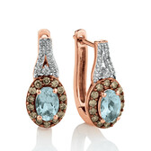 Stud Earrings with 0.38 Carat TW of Brown & White Diamonds and Aquamarine in 14ct Rose Gold