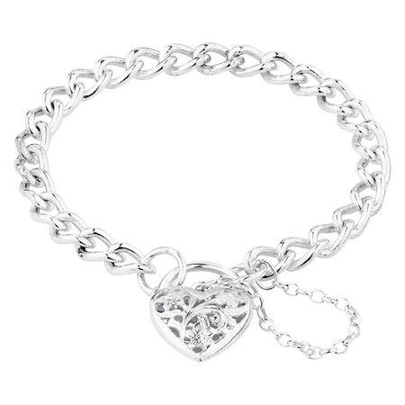 Online Exclusive - Padlock Curb Bracelet In Sterling Silver