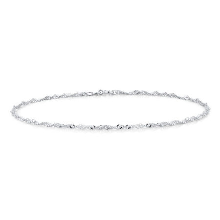 "19cm (7.5"") Singapore Anklet in Sterling Silver"