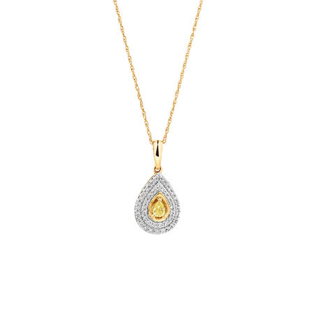 Pendant with 1/3 Carat TW of White & Natural Yellow Diamonds in 10ct Yellow Gold