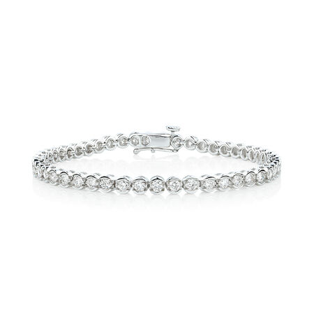 Bracelet with 3 Carat TW of Diamonds in 14ct White Gold