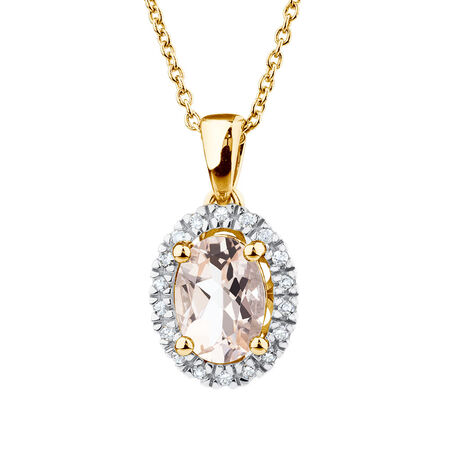 Pendant with Morganite & Diamonds in 10ct Yellow & White Gold