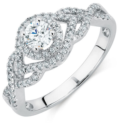 Engagement Ring with 0.65 Carat TW of Diamonds in 14ct White Gold