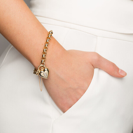Diamond Set Belcher Bracelet in 10ct Yellow Gold