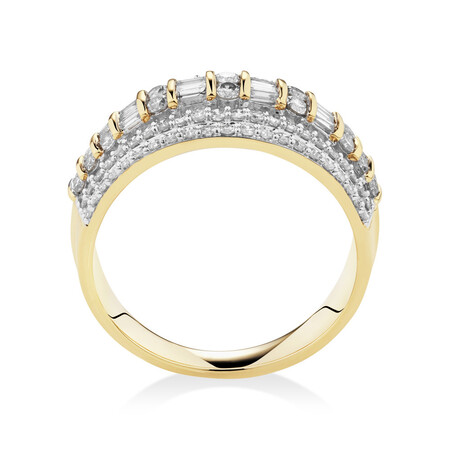 Multi Row Ring with 1 Carat TW of Diamonds in 10ct Yellow Gold