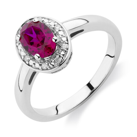 Halo Ring with Created Ruby & Diamonds in Sterling Silver
