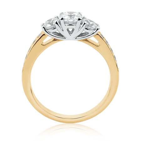 Engagement Ring with 1 Carat TW of Diamonds in 14ct Yellow & White Gold