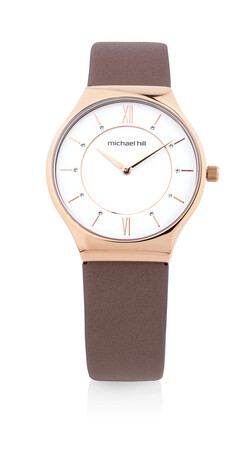 Watch in Rose Tone Stainless Steel & Dark Rose Leather