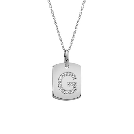 """""""G"""" Initial Rectangular Pendant With Diamonds In 10ct White Gold"""