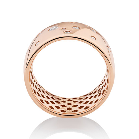 Hammer Set Barrel Ring with 0.25 Carat TW of Diamonds in 10ct Rose Gold