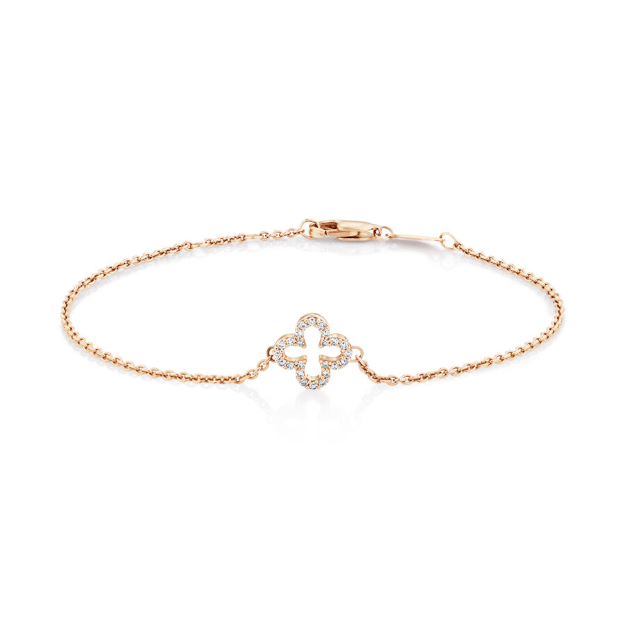 "19cm (7"") Clover Bracelet with 0.12 Carat TW of Diamonds in 10ct Rose Gold"