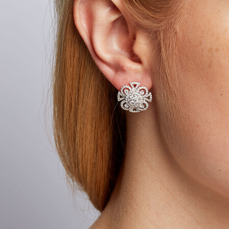 Stud Earrings with 1.53 Carat TW of Diamonds in 14ct White Gold
